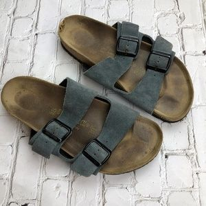 Birkenstock Suede Leather Gray Sandals Sz 40 US 9